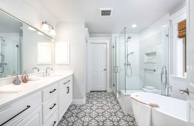 Minimal White Master Bathroom - Lux Design Builds