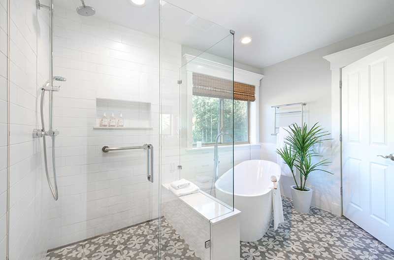 Minimal White Master Bath Before & After